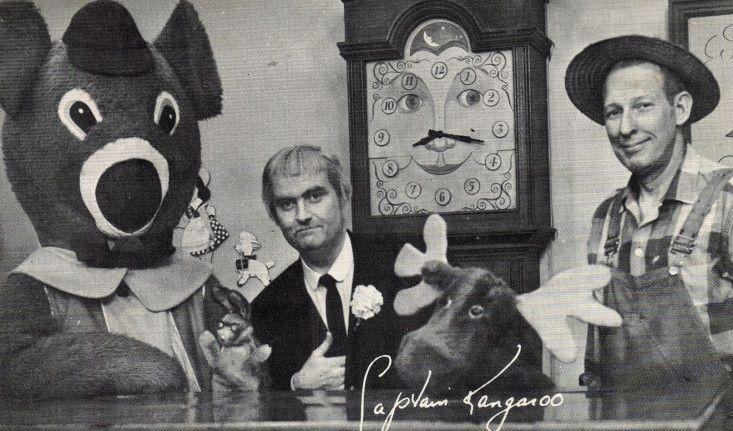 Captain Kangaroo with Dancing Bear, Bunny Rabbit, Grandfather Clock, Mr. Moose and Mr. Green Jeans