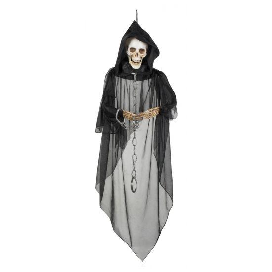 Hangdecoratie skelet geest 150 cm. Dit hangdecoratie skelet heeft een formaat van ongeveer 150 cm.