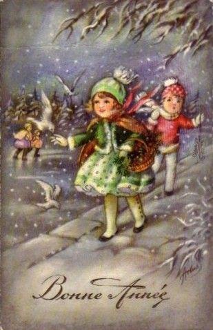 Carte ancienne de bonne année | Cartes anciennes, Cartes ...