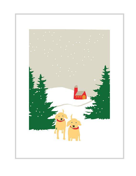 wenskaarten gele labs in sneeuw met rode schuur besneeuwde hemel Opmerking kaart collectie