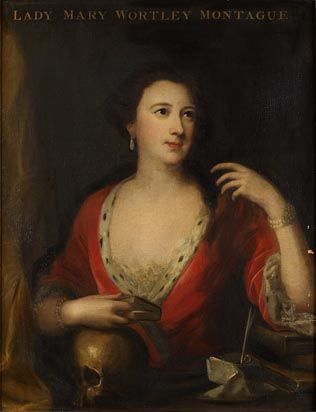 One of my favorites - Lady Mary Wortley Montagu (1689-1762), writer and traveller, portrayed in 1739 by Carlo Francesco Rusca with her arm resting on a skull, a symbolic memento mori. (Government Art Collections)