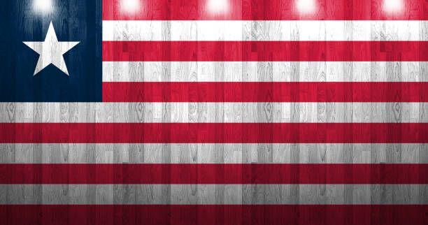 liberia flag painted on old wood plank texture
