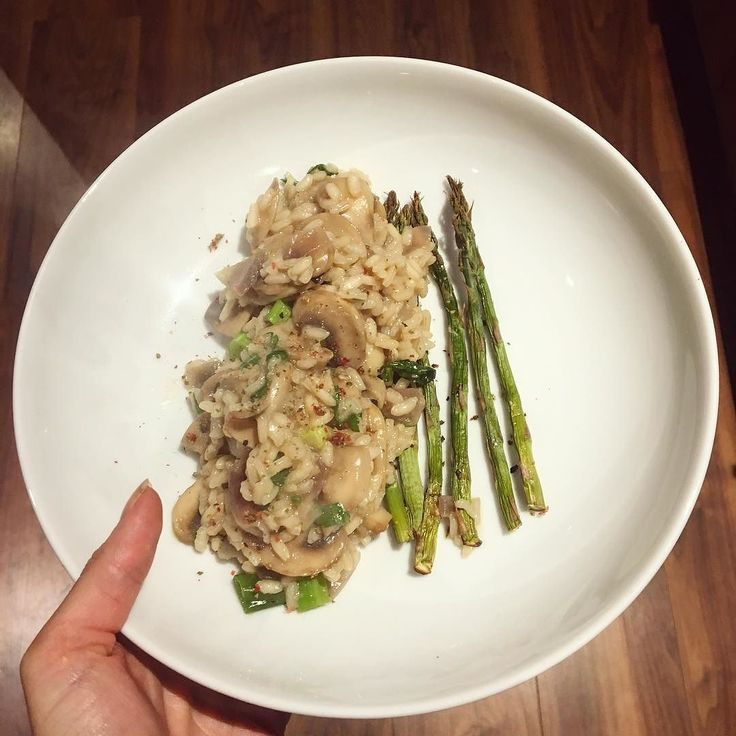 ... tea was a mushroom and parsley risotto with some baked asparagus