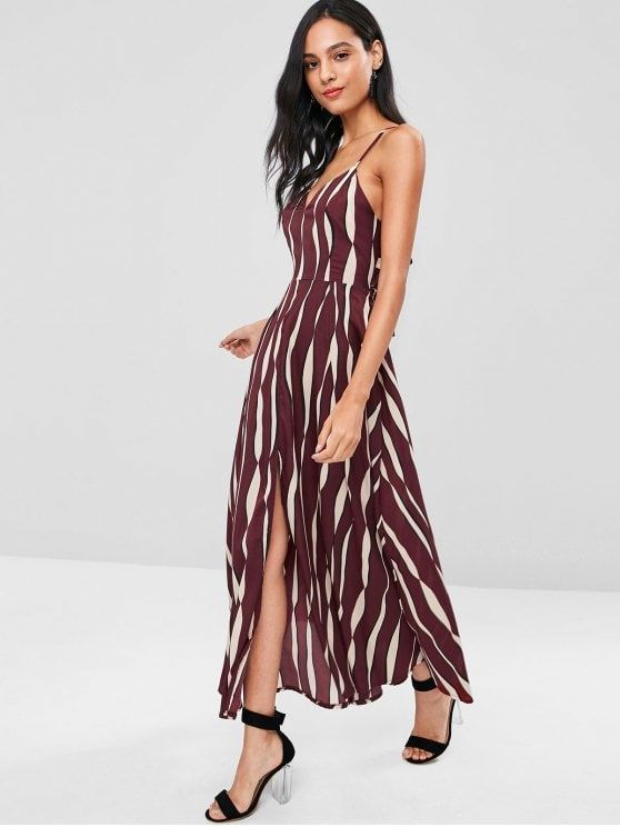 4c752db0fc662 Shop for Tie Back Uneven Stripe Cami Maxi Dress RED WINE: Maxi ...