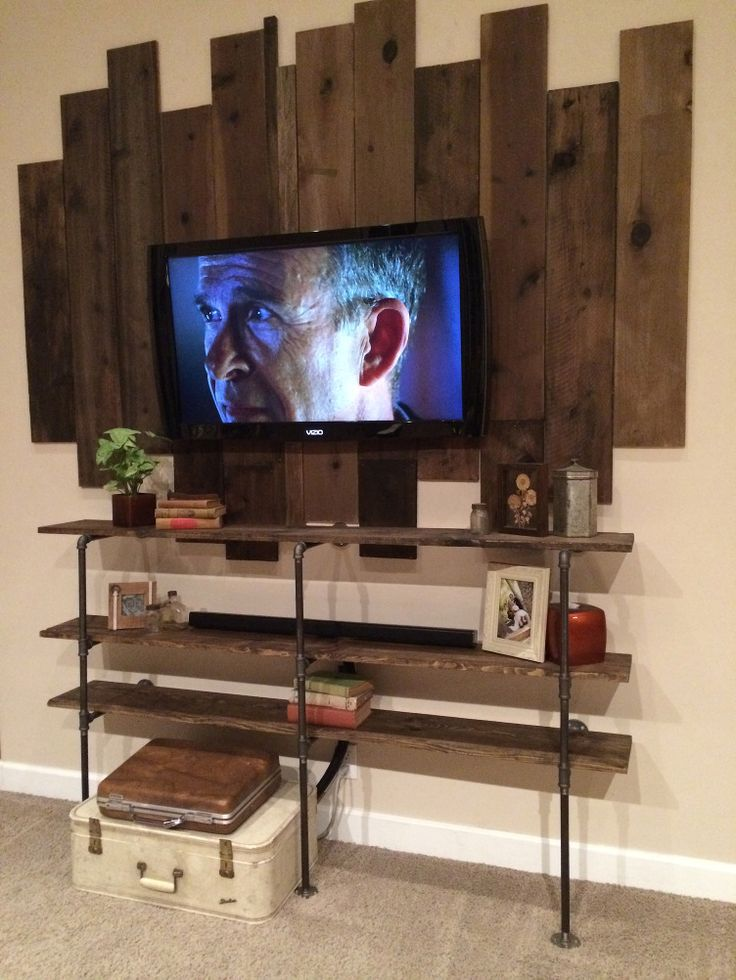 Best 25 diy iron pipe ideas on pinterest iron pipe shelves industrial shelving and pipe - Wooden tv wall shelf ...