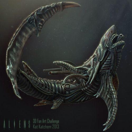 Xenomorph Shark by Kat Katchem | ArtStation.com  EPICvia fueledbystarkbucks