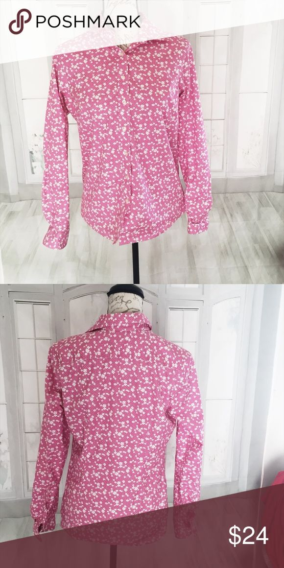 """Land's End Women's 10 Pink Floral Button Down 24"""" sleeve, 20.5"""" bust measured armpit to armpit, 23""""-25"""" long. All measurements are taken laid flat and are approximate.  No iron pinpoint oxford. Machine wash. 100% baumwolle. Land's End Tops Button Down Shirts"""