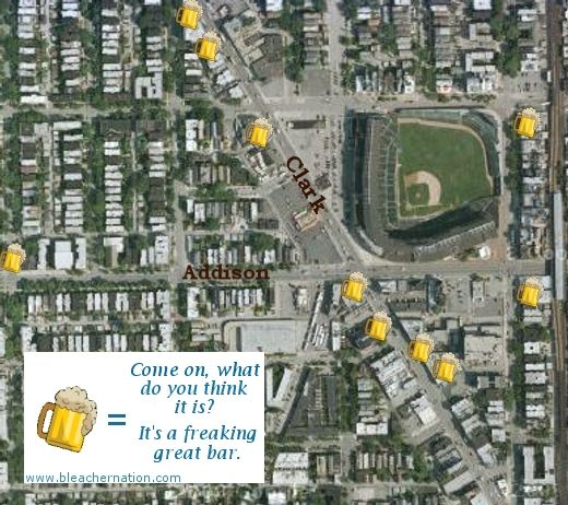 Best bars near Wrigley- 1 has a beer pong table, another has a trampoline, and the third gives away free hot dogs! Take me to Chicago now!