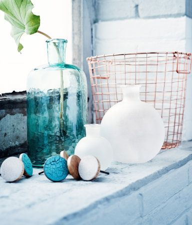 Frosted round glass vase.   H&M Home