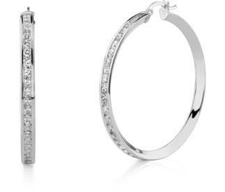 "CZ Hoop Earrings, 1 3/4"", 14K White Gold"