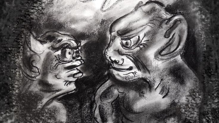 Рисуем Две Страшных Горульи, Готические рисунки углем