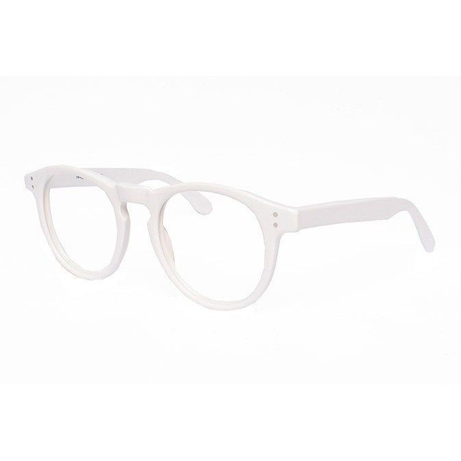 oversized white round eyeglasses – vintage white glasses frames – original 80s eyewear panto eye glasses – Harold – FlyGirlGoneBackNatural