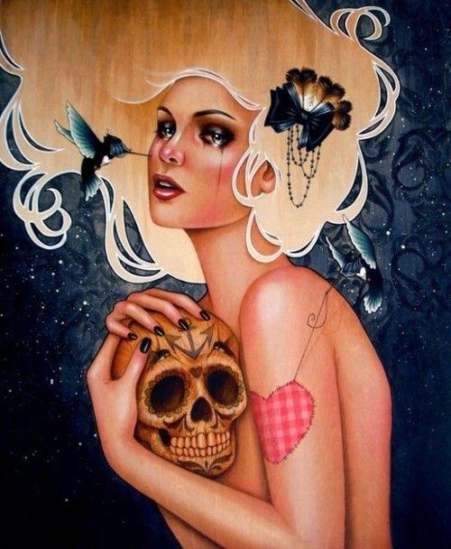 Acrylic painting on woodArtists, Artworks, Acrylics Painting, Digital Art, Glennarthur, A Tattoo, Tattoo Art, Birds Skull, Glenn Arthur