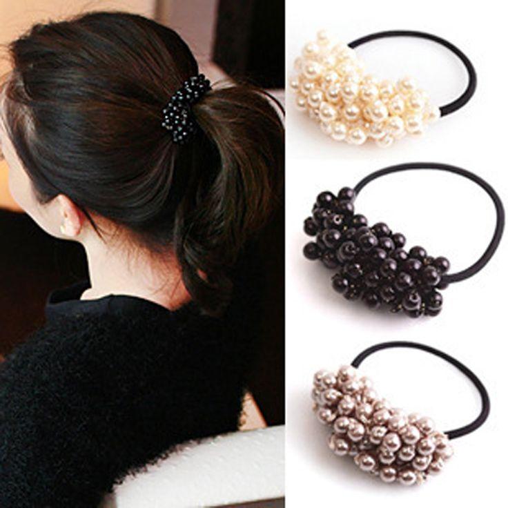 1 pcs pearl elastis rambut karet headband karet untuk wanita gadis ikat rambut ponytail pemegang rambut ties aksesoris rambut