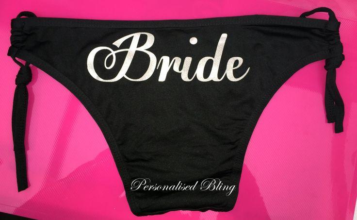 Bride white bikini Name personalised white bikini black pink bikini top bottom vinyl mrs wedding honeymoon hen party personalised by personaliseddiamante on Etsy