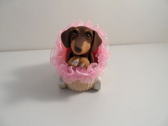 Dachshund Puppy in Carriage polymer clay dog sculpture by theWRC