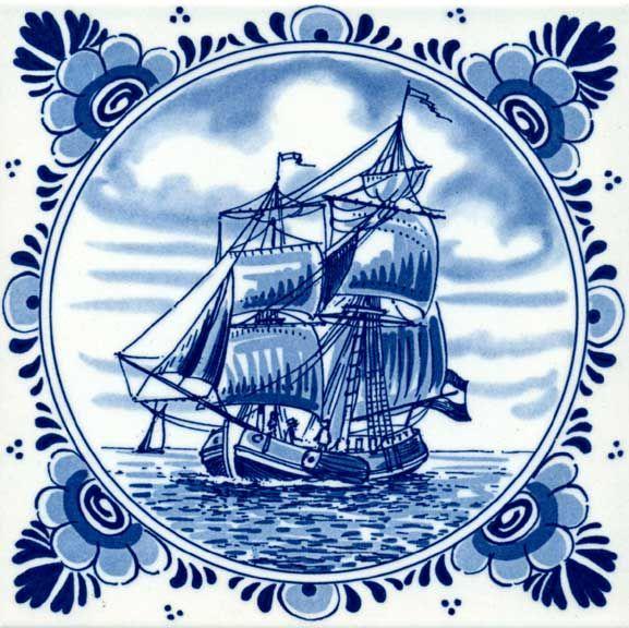 Delfs blauw tegeltje met schip