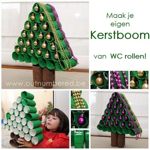 Maak je eigen kerstboom van wc rollen.