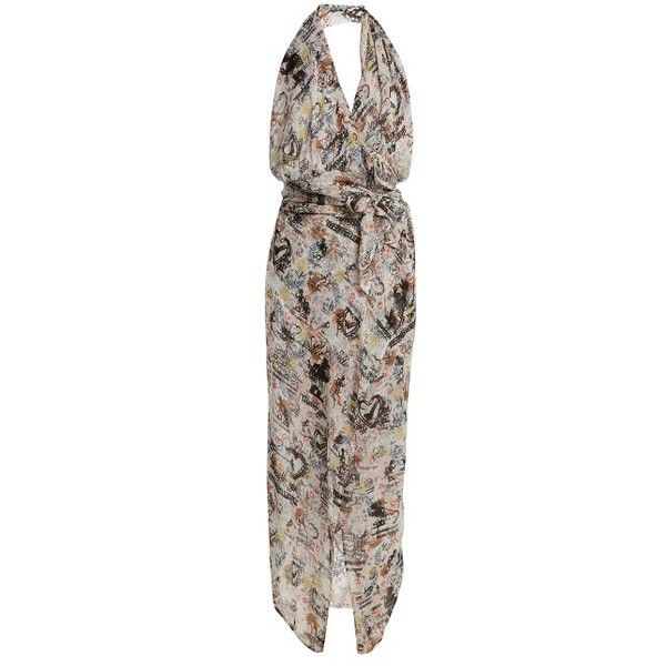 Vivienne Westwood Anglomania Temperance-print halterneck dress ($700) ❤ liked on Polyvore featuring dresses, multi, brown halter dress, asymmetrical hem dresses, draped dress, tie belt and multicolor dresses
