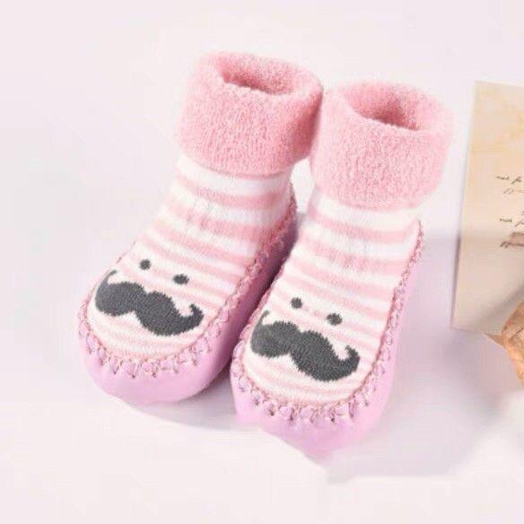 SUNBIBE Anti-Slip Warm Knitted Step Socks for Infant Newborn Kids Baby Slipper Shoes Cute Cartoon Boots Floor Socks