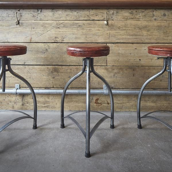 Cooper Vintage Real Leather & Metal Adjustable Bar Stool - 34 inch - Mondo Brewing Company