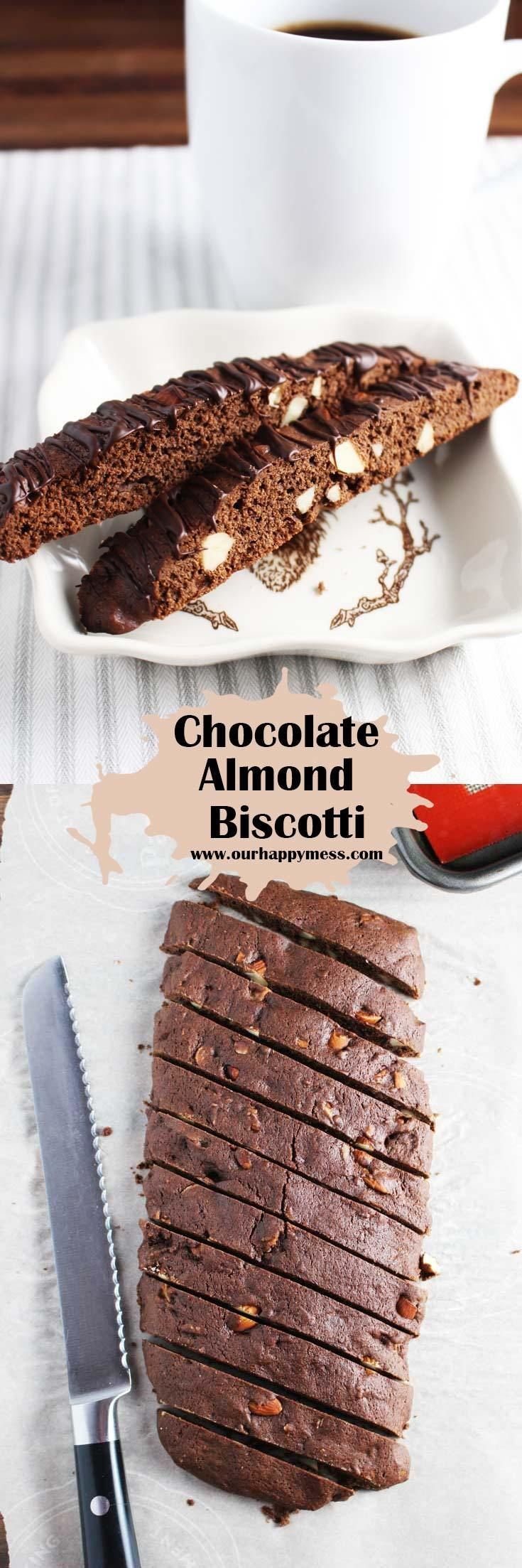 Chocolate almond biscotti are easy and fun to make. Drizzle with chocolate or leave them plain for dunking in your coffee. #biscotti #ediblegifts #cookies #chocolatealmondbiscotti