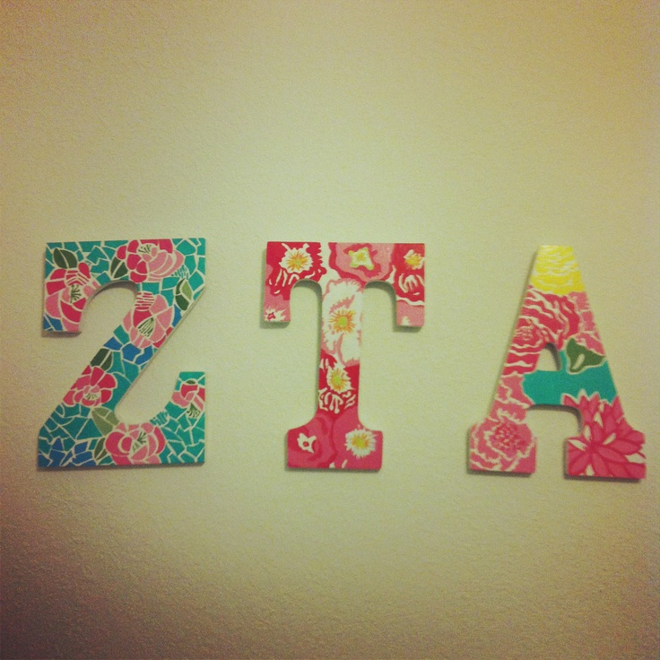 #ZTA hand-painted (Lilly) letters for yourself or little as a room decoration. Cute!