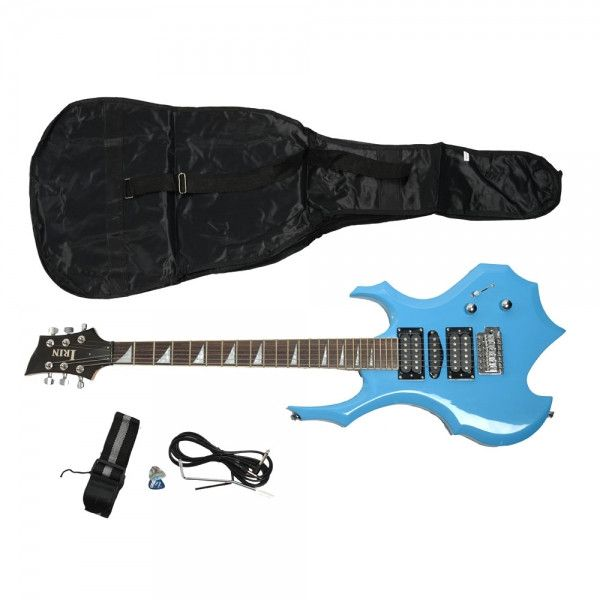 Flame Type Electronic Guitar Blue with Bag Pick Cable Strap