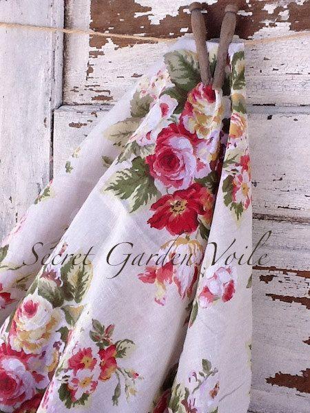 Lightweight Sheer Voile Fabric Secret Garden 58 by CamillaCotton