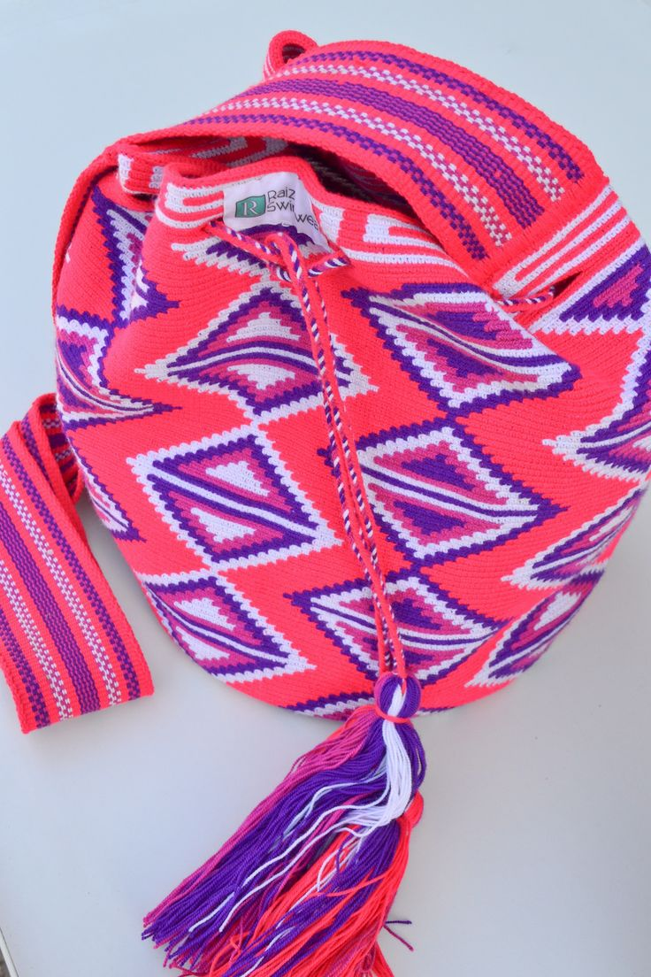 Raiza Swimwear Large Pink Wayuu Bag, $90.