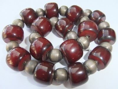 RARE Vintage Art Deco Cherry Amber Bakelite Sterling Silver Bead Necklace | eBay