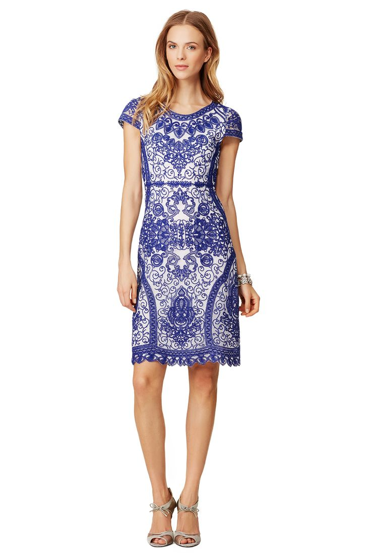 Gorgeous blue and white lace dress