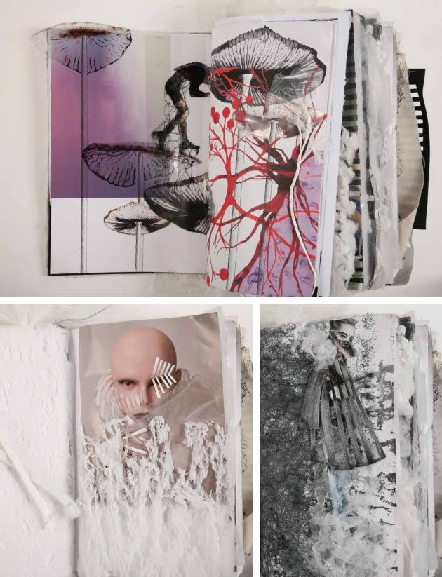 Sketchbook by Ania Leike, completed in her last year of a fashion design degree at Istituto Marangoni