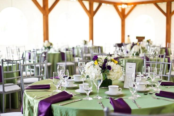 Green & Purple Satin with Silver Chivari Chairs