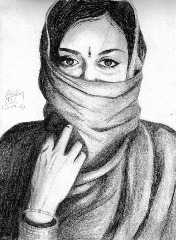 Indian Woman By Qia95 On Deviantart Indian Drawings In