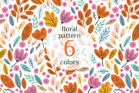 Floral autumn patterns by Maria Galybina on @creativemarket Flower, blossom, leaves illustration