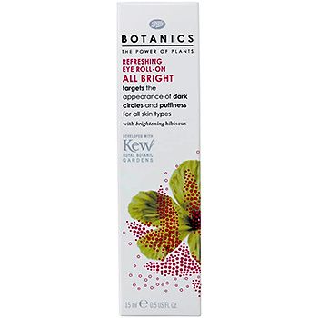 Botanics All Bright Refreshing Eye Roll-On      Targets the Appearance of Dark Circles & Puffiness Leaves the eye area immediately refreshed. Hyaluronic acid helps to hydrate dull skin
