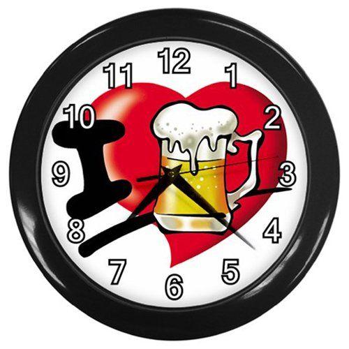I+Love+Beer+Black+Frame+Kitchen+Wall+Clock
