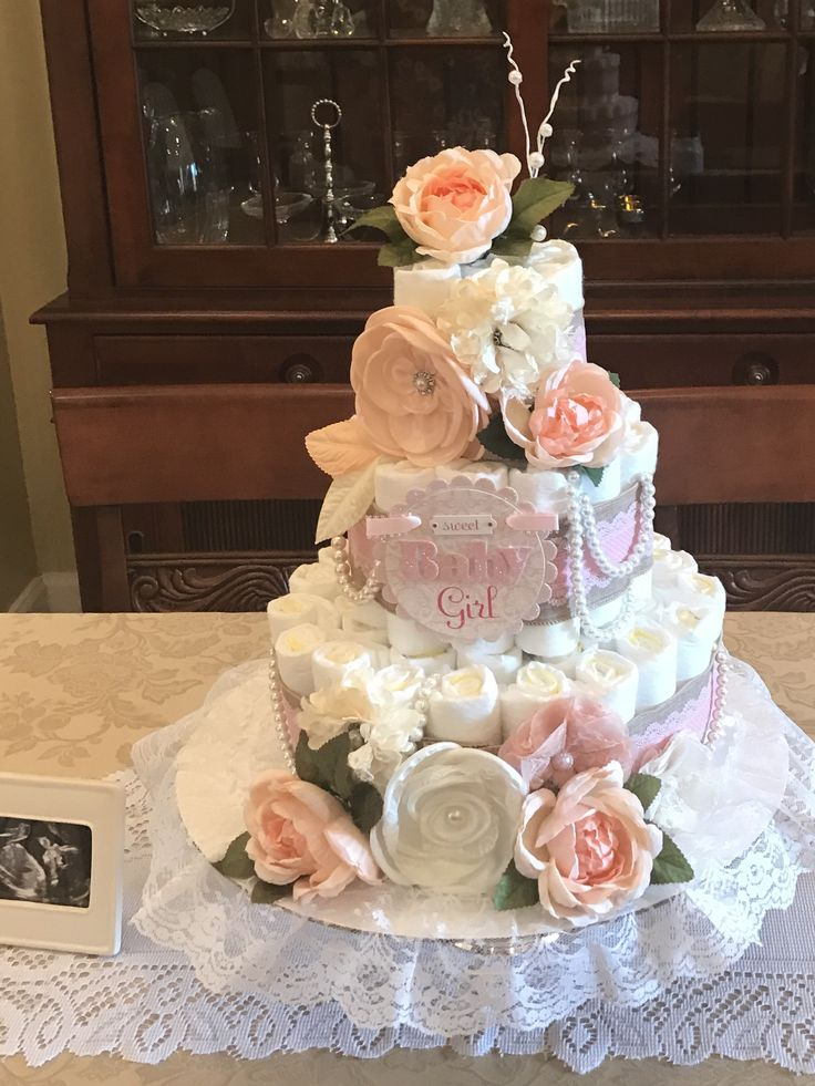 Diaper cake - Shabby chic baby shower. I believe this is my best one yet. Easier to make than you might think.