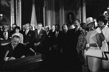 President Lyndon Baines Johnson signing the Voting Rights Act of 1965. An act to enforce the 15th Amendment to the United States Constitution. SCOTUS struck down Sec 4 as unconstitutional and Sec 5 as useless June 25, 2013