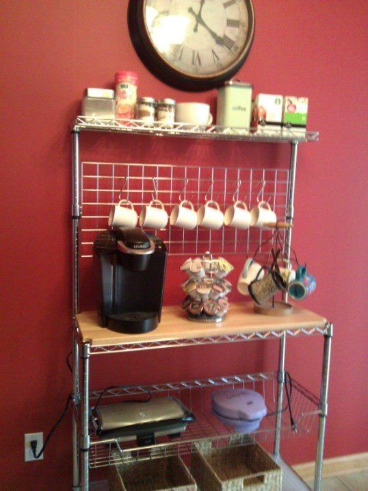 Adapted a pin I saw previously. A coffee bar made out of a baker's rack from Target.com for only $90!!!
