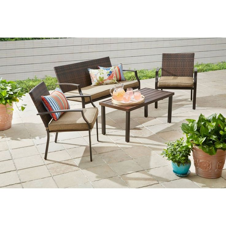 Wicker Patio Conversation Set Cushions 4 Piece Loveseat Sofa Chairs Table Brown | eBay