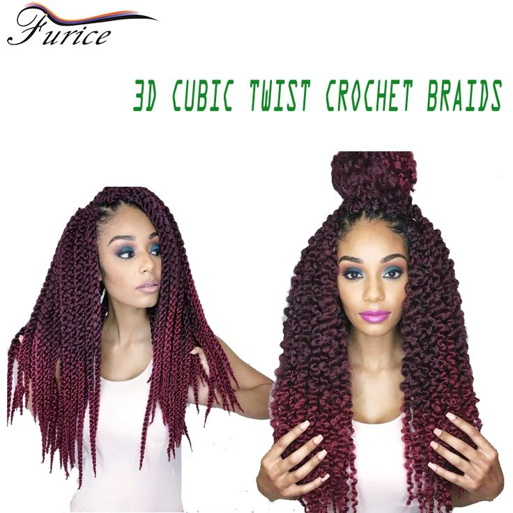 Burgundy Braiding Hair 24inch 3D Cubic Crochet Hair Extensions Cheap Hair Bundles Havana Mambo Twist Synthetic Ombre 3D Cubic