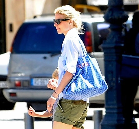 Gwyneth Paltrow with her gorgeous Goyard monogrammed tote.