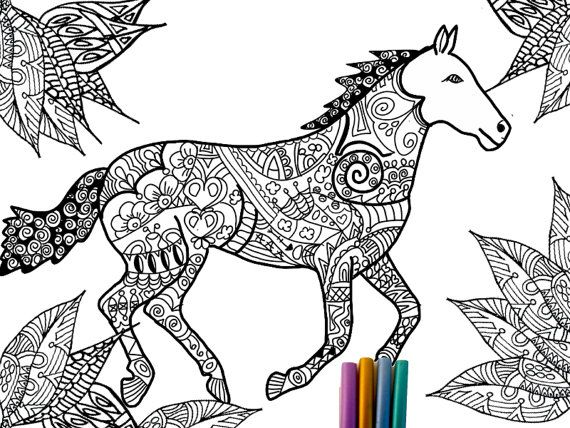 Horse Tangle, Adult Coloring Page, Intricate coloring Page