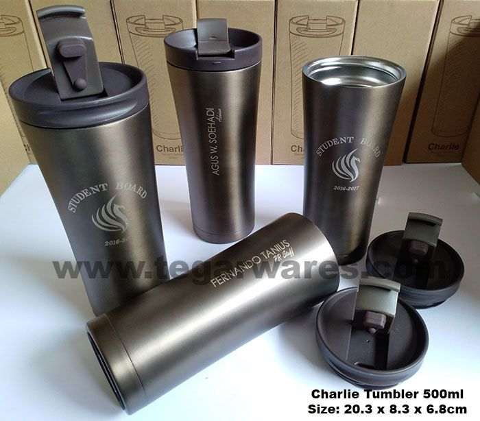 Stainless Tumbler tipe Charlie  20,3cm x 8.3cm x 6.8cm Capacity: 500ml Color: Black, Brown & White. An ideal stuff for student merchandise. As shown above, a Charlie Tumbler for Student Board merchandise ordered by Student Board Universitas Prasetiya Mulya Bumi Serpong Damai, BSD Tangerang Banten Indonesia