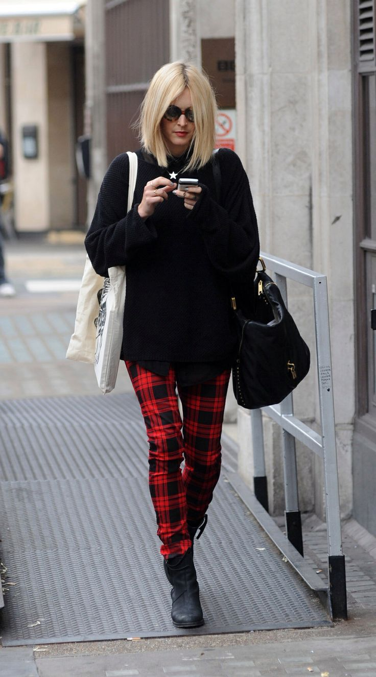 Fearn cotton in tartan trousers with black boots