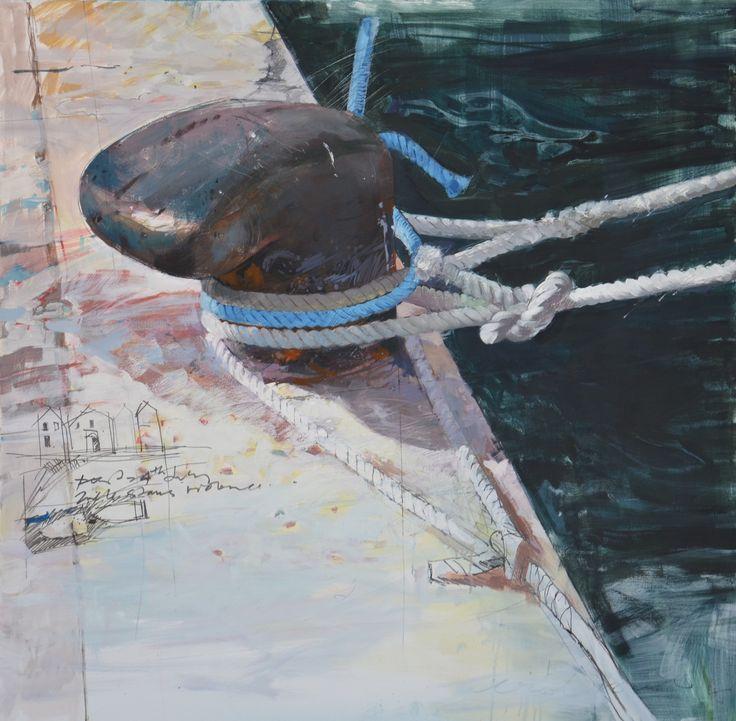 oil on canvas-1250 x 1250-bollard blue rope-Croatia