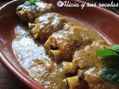 Alicia y sus recetas: MANITAS EN SALSA DE ALMENDRAS A LA HIERBABUENA
