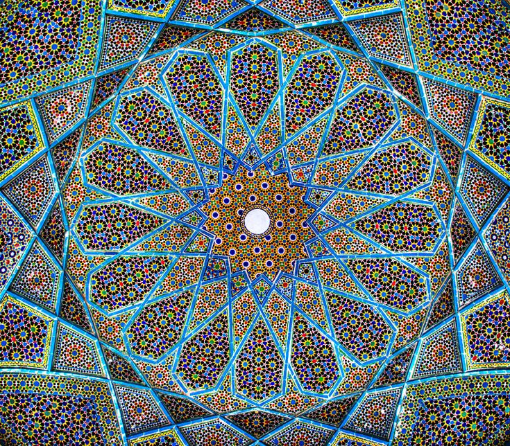 Mosaic on the ceiling of poet Haphez's tomb in Shiraz, Iran